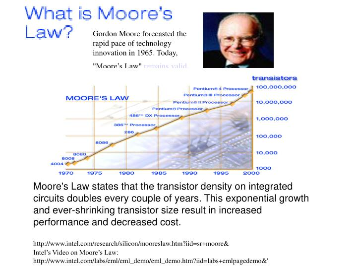 "Gordon Moore forecasted the rapid pace of technology innovation in 1965. Today, ""Moore's Law"""