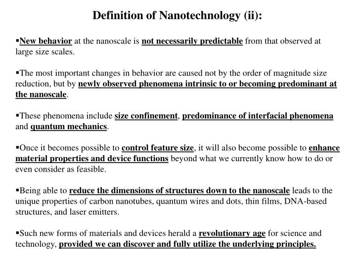 Definition of Nanotechnology (ii):