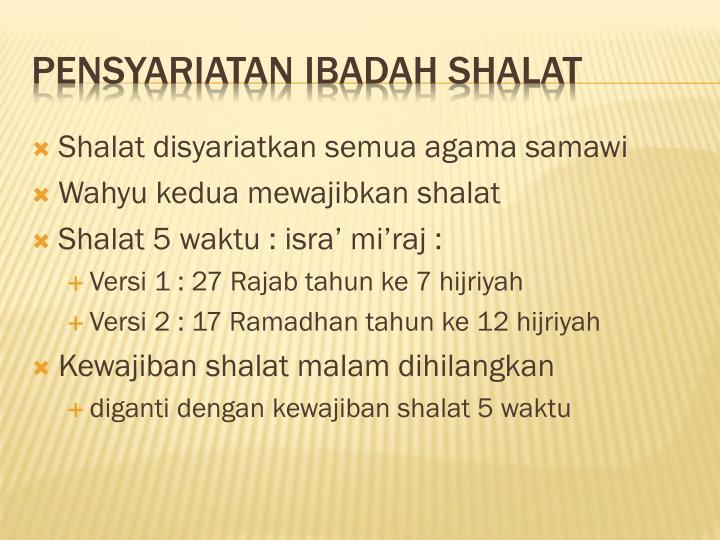 Shalat disyariatkan semua agama samawi