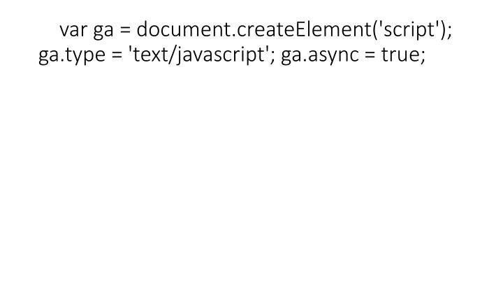 var ga = document.createElement('script'); ga.type = 'text/javascript'; ga.async = true;