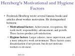 herzberg s motivational and hygiene factors