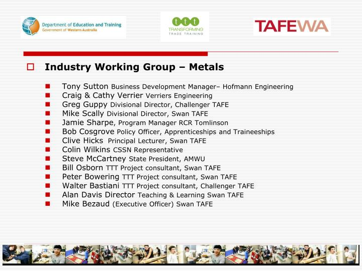 Industry Working Group – Metals