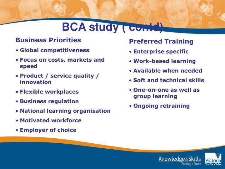 BCA study ( contd)