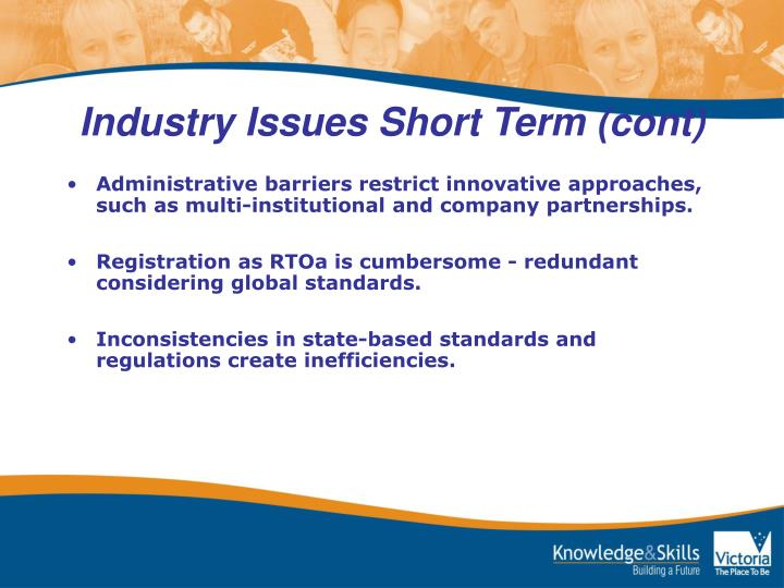 Industry Issues Short Term (cont)