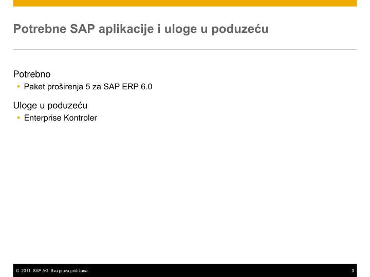 Potrebne SAP aplikacije i uloge u poduzeću