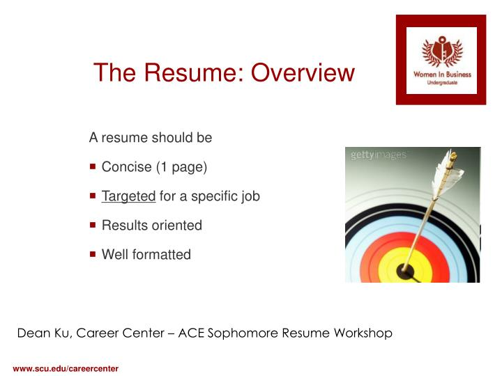 The Resume: Overview