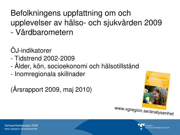Befolkningens uppfattning om och upplevelser av hälso- och sjukvården 2009