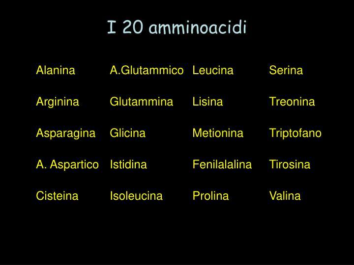 I 20 amminoacidi