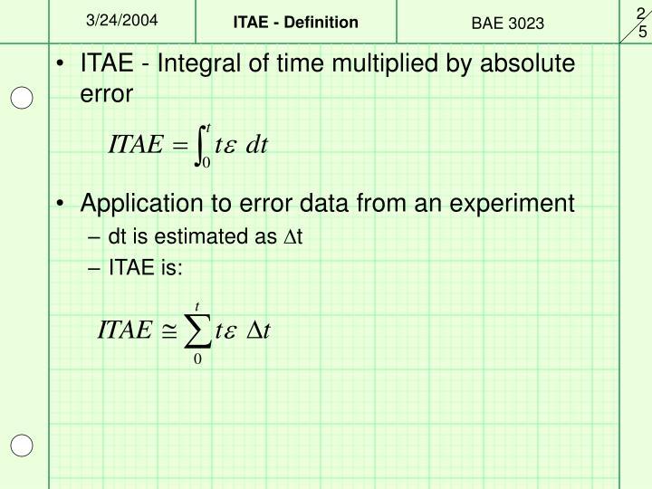 ITAE - Definition