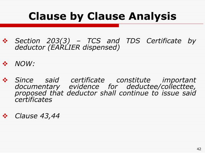 Clause by Clause Analysis