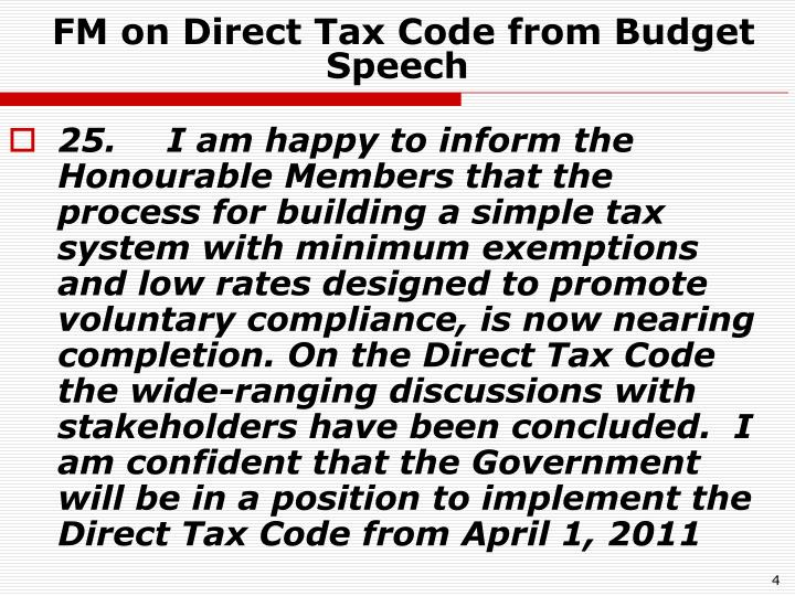 FM on Direct Tax Code from Budget Speech