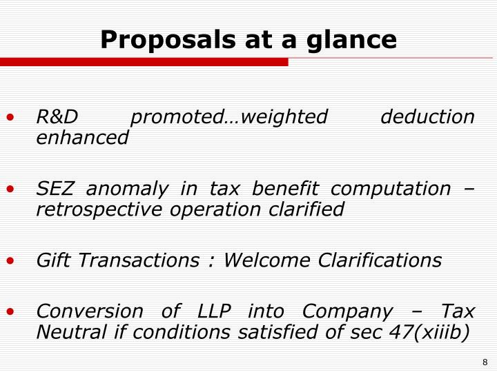 Proposals at a glance