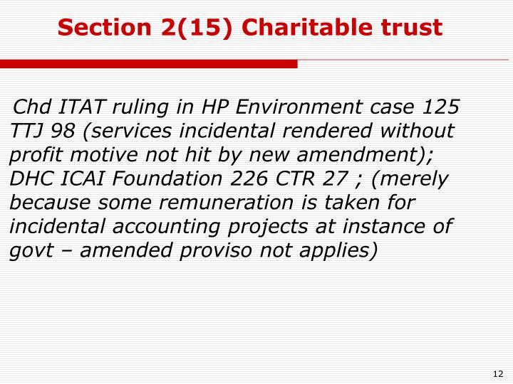Section 2(15) Charitable trust