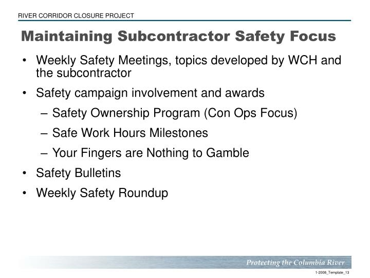 Maintaining Subcontractor Safety Focus