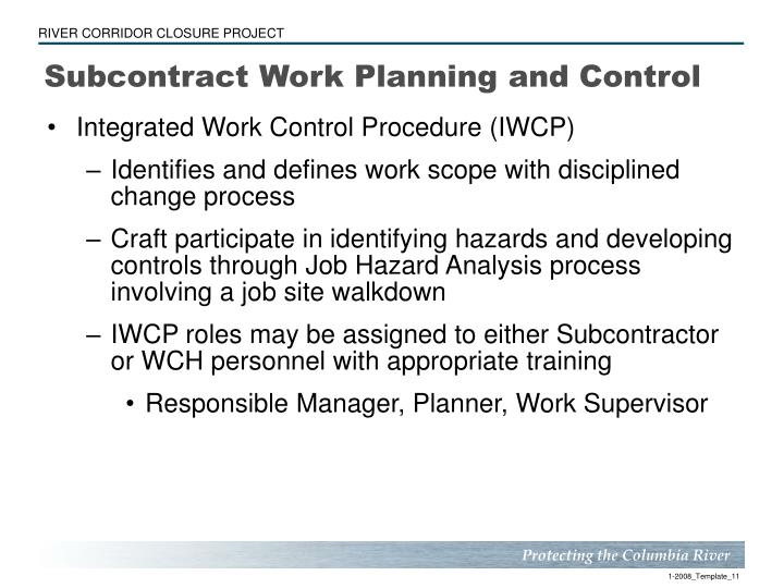 Subcontract Work Planning and Control