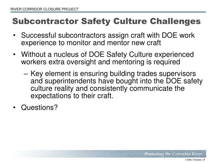 Subcontractor Safety Culture Challenges
