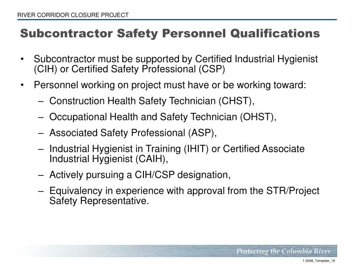 Subcontractor Safety Personnel Qualifications