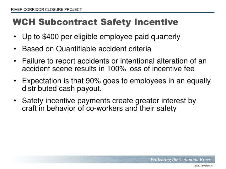 WCH Subcontract Safety Incentive