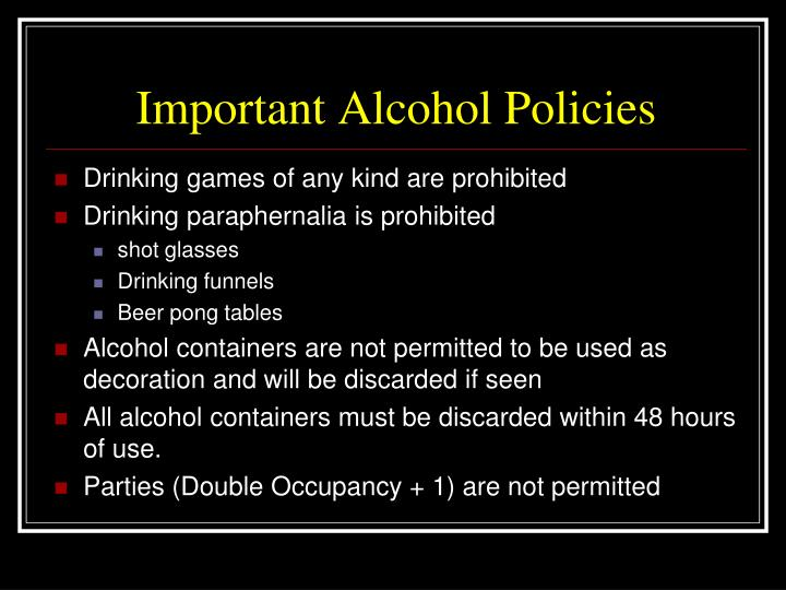 Important Alcohol Policies