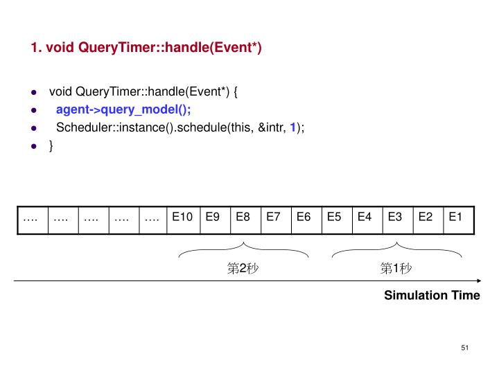 1. void QueryTimer::handle(Event*)