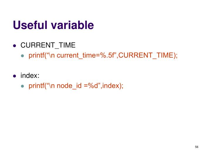 Useful variable