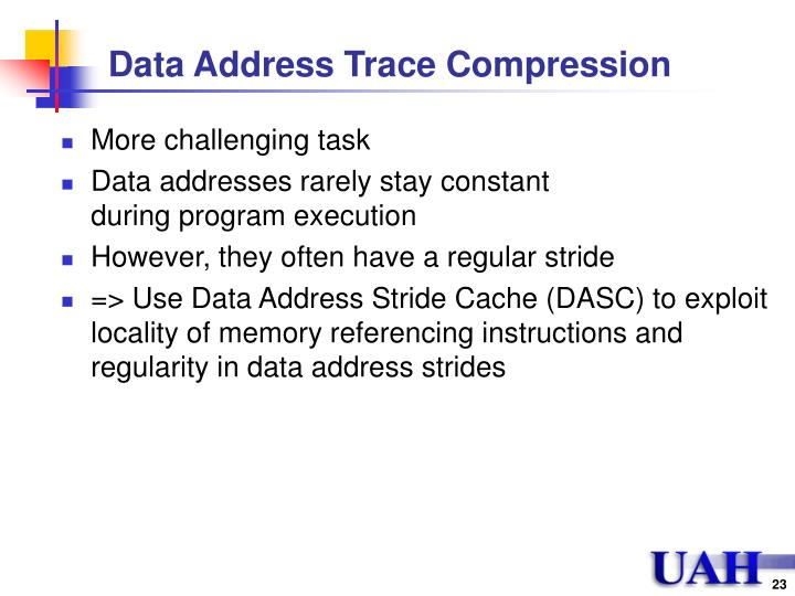 Data Address Trace Compression