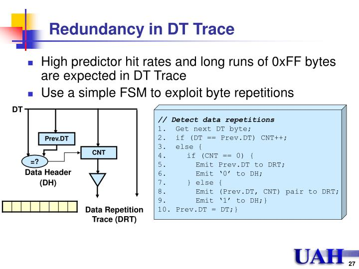 Redundancy in DT Trace