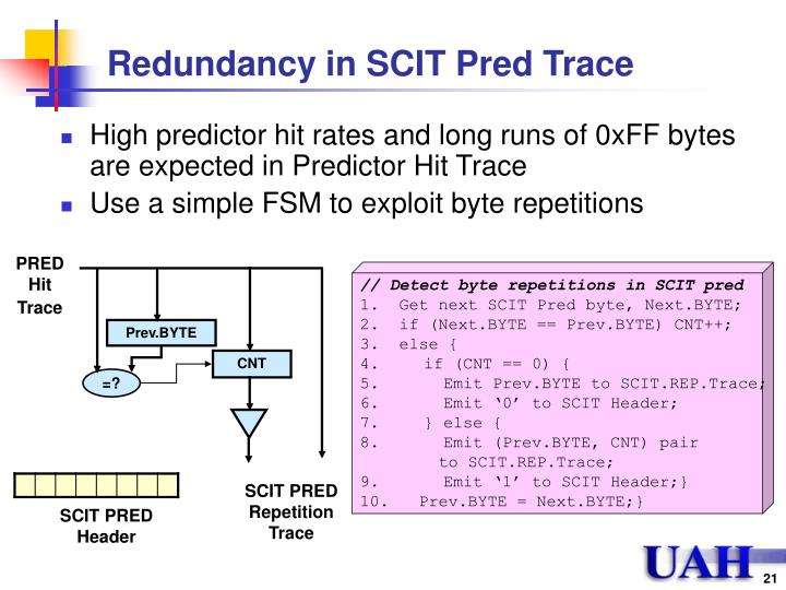 Redundancy in SCIT Pred Trace