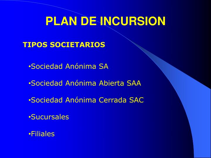 PLAN DE INCURSION