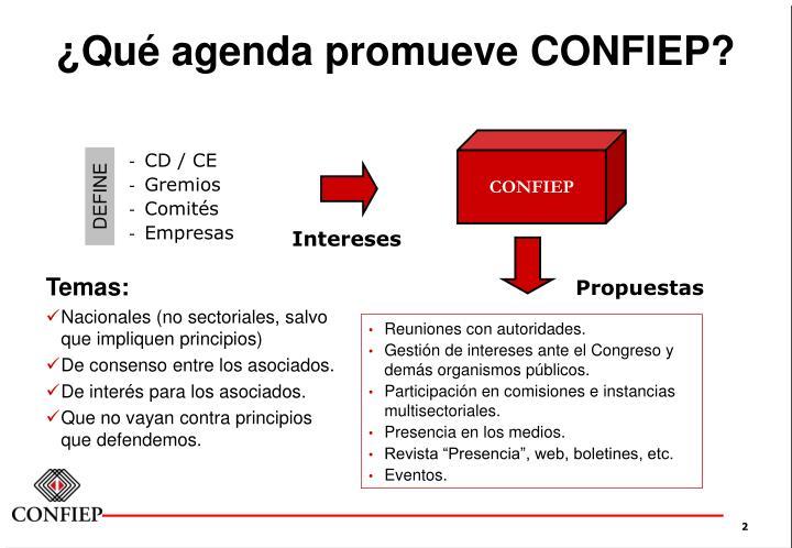 ¿Qué agenda promueve CONFIEP?
