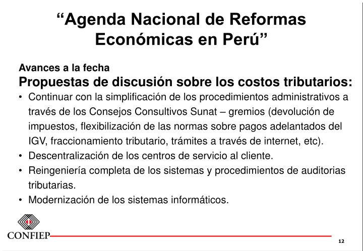 """""""Agenda Nacional de Reformas"""
