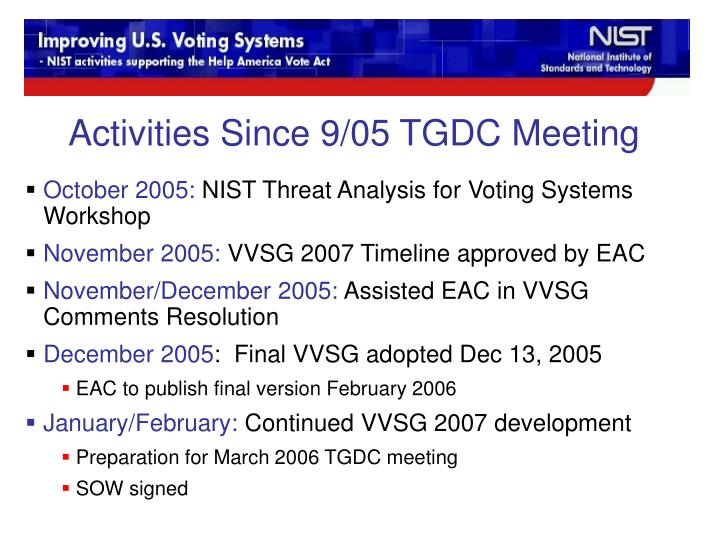 Activities Since 9/05 TGDC Meeting