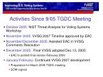 activities since 9 05 tgdc meeting
