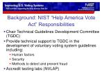 background nist help america vote act responsibilities