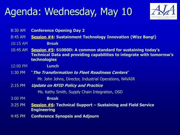 Agenda: Wednesday, May 10