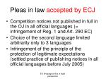 pleas in law accepted by ecj