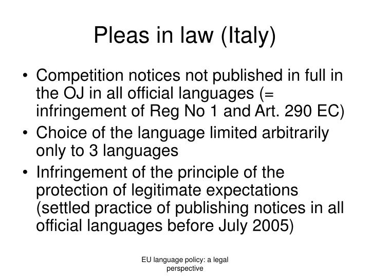 Pleas in law (Italy)