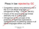 pleas in law rejected by gc
