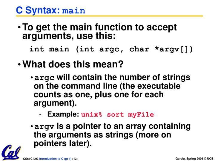 C Syntax: