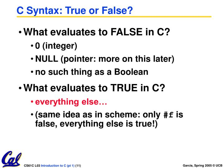 C Syntax: True or False?