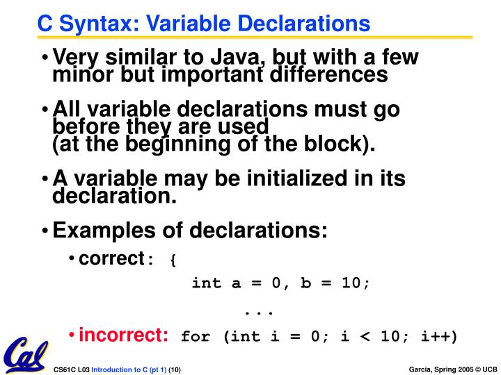 C Syntax: Variable Declarations