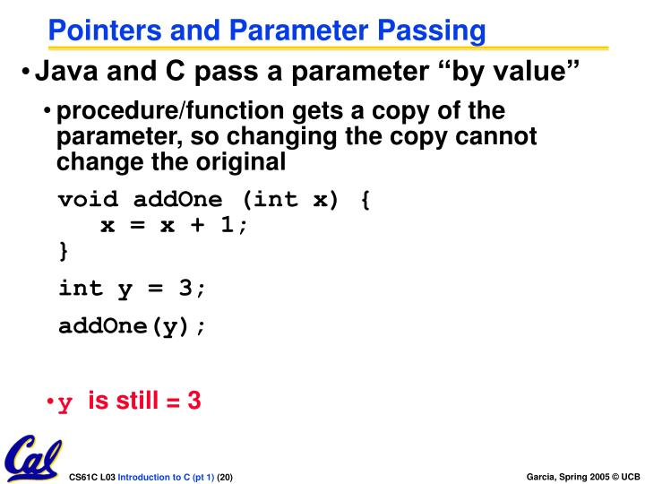 Pointers and Parameter Passing