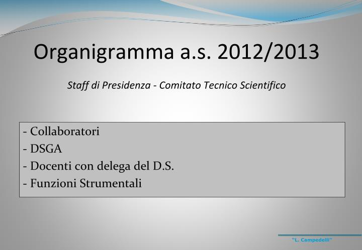 Organigramma a s 2012 2013 staff di presidenza comitato tecnico scientifico