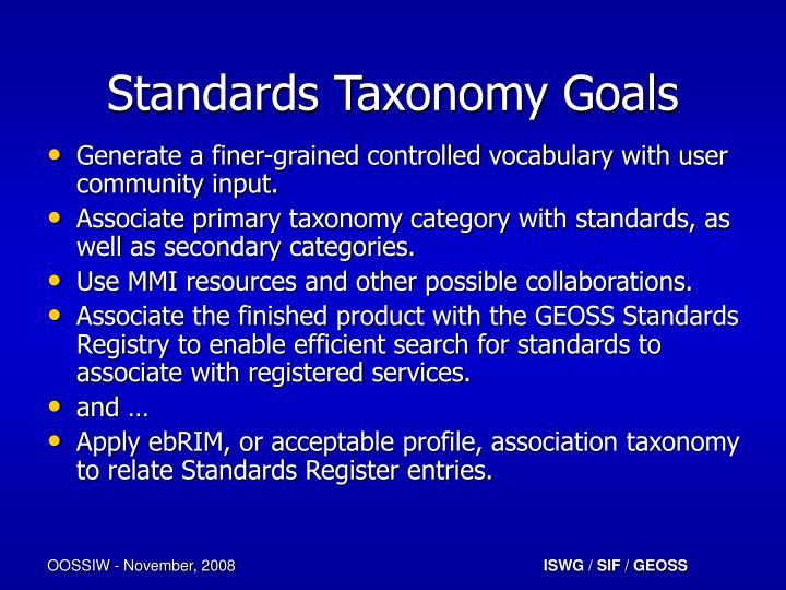 Standards Taxonomy Goals