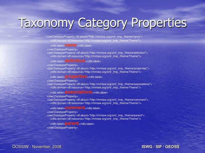 Taxonomy Category Properties