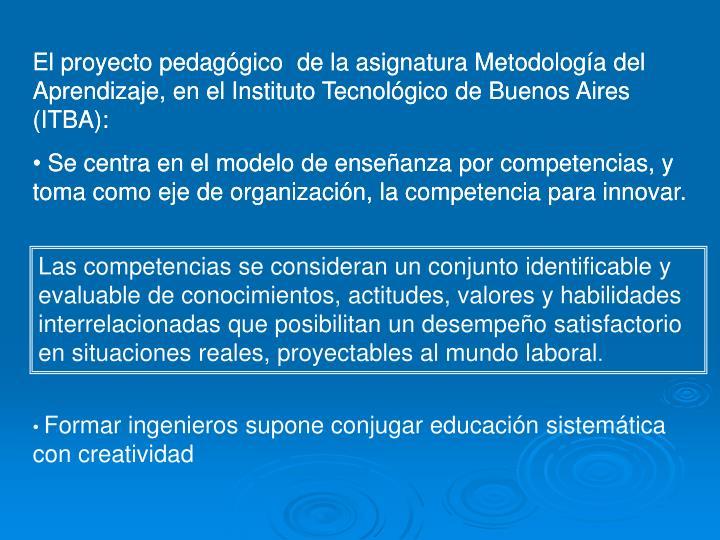 El proyecto pedagógico  de la asignatura Metodología del Aprendizaje, en el Instituto Tecnológico de Buenos Aires (ITBA):