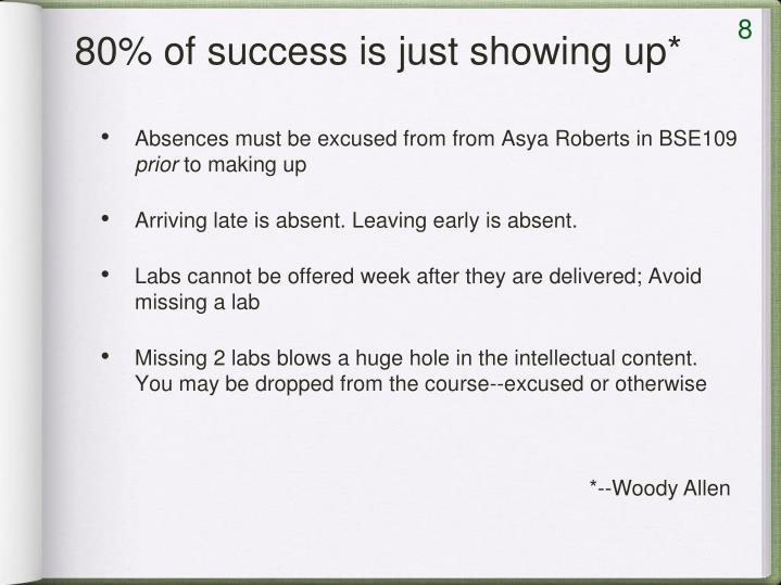 80% of success is just showing up*