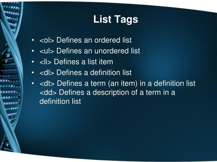 List Tags