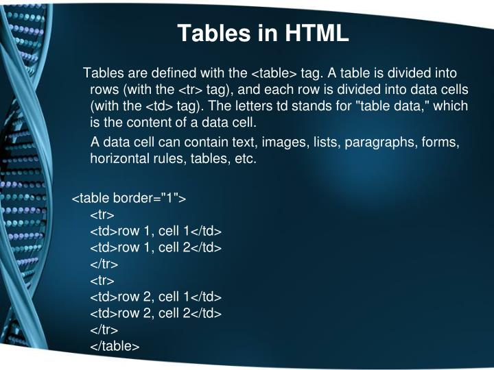 Tables in HTML
