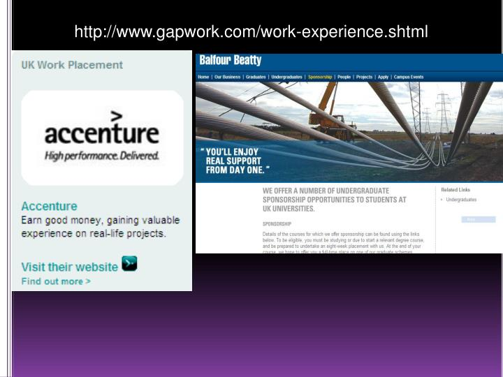 http://www.gapwork.com/work-experience.shtml